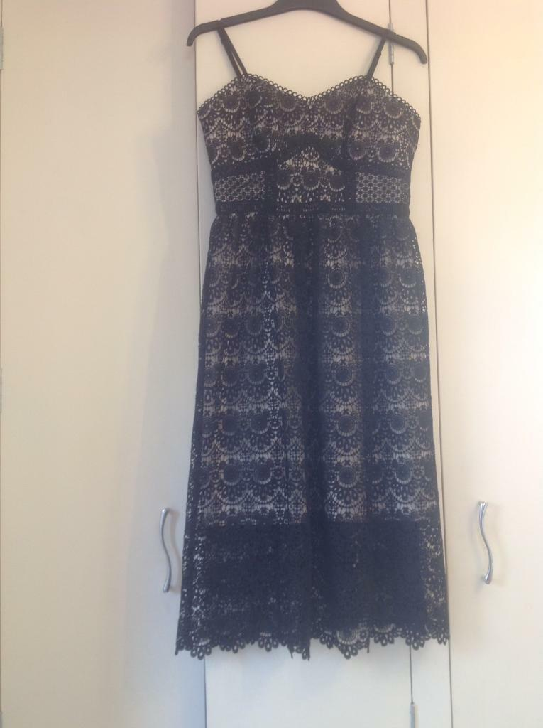 NEW black lace dress rose gold detail size 8-10 , wedding , prom ...