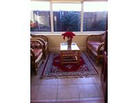 CONSERVATORY 2 SEATER SOFA & 2 CHAIRS (CANE FURNITURE) AND TABLE