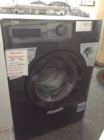 Beko black washing machine. 7kg 1400spin. A+++ energy rated. £199 RRP £259. New/graded 12 month gtee