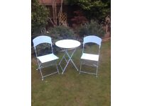 BISTRO STYLE GARDEN TABLE AND 2 CHAIRS