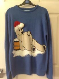 Gents Xmas sweater , blue with bear motif