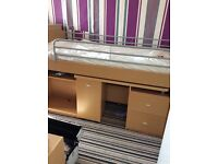 Solid wood cabin bed with pull out desk