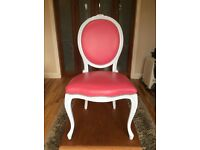 FRENCH LOUIS DINING CHAIR - Painted pale blue with pink leather and chrome studs