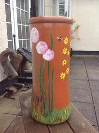 HAND PAINTED terracotta chimney pot