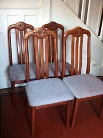 4 Carved Detail Dining Chairs Suitable for Upholstery Project / Can Deliver