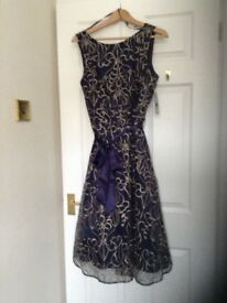 ladies size 14 Party Dress, beautiful midnight blue with embroidered top layer.