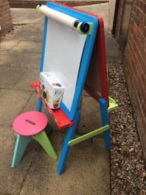Double sided wooden easel and wooden stool