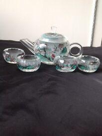 Inside painted crystal tea set