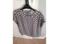Next women's grey & white spot blouse size 8