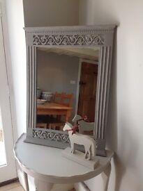 Large Grey Distressed Mirror