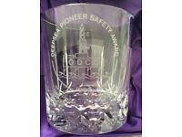 Edinburgh Crystal whiskey glasses, 4, boxed. These have an imprint of safety award, seen in pics.