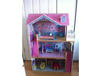 ELC Large Wooden Dolls House with Furniture