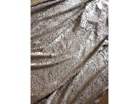 Champagne coloured crushed velvet styled curtains