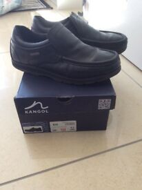 Kangol Black leather school shoes