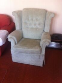 Light Green Upright Armchair
