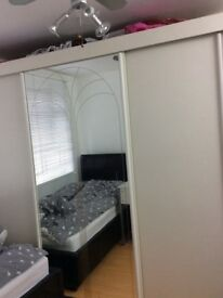 Wardrobe white with sliding doors & mirror