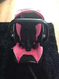 Recaro pink black car seat from birth to 15 months
