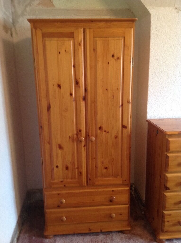 Solid Pine Bedroom Furniture Including 2 Wardrobes 2 Bedside Drawers Chest Of Drawers And