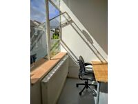 Tailored work offices, shared space, private studios, hot desk, high ceilings, lots of ligh