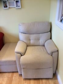 Cream electric recliner chair