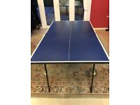 An indoor table tennis table