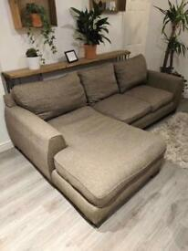 L shape sofa - brown/beige - removable fabric