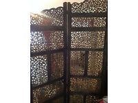 Fabulous Dark Wood Folding Screen, Extends to nearly 7ft and is 6ft high at its highest