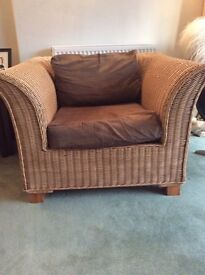 Pair of modern wicker armchairs, as new £110 or £60 each
