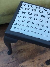 Hand Painted Piano Stool With Quirky Snellen Upholstery