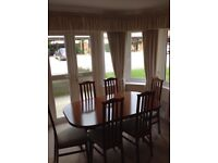 Teak Dining Room Extendable Table And 6 Chairs In Very Good Condition