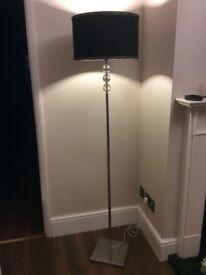 Floor lamp & Table lamp, chrome & black shade.