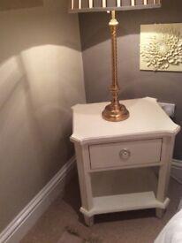 cream side table/bedside