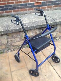 Rollator (walking frame) with sear