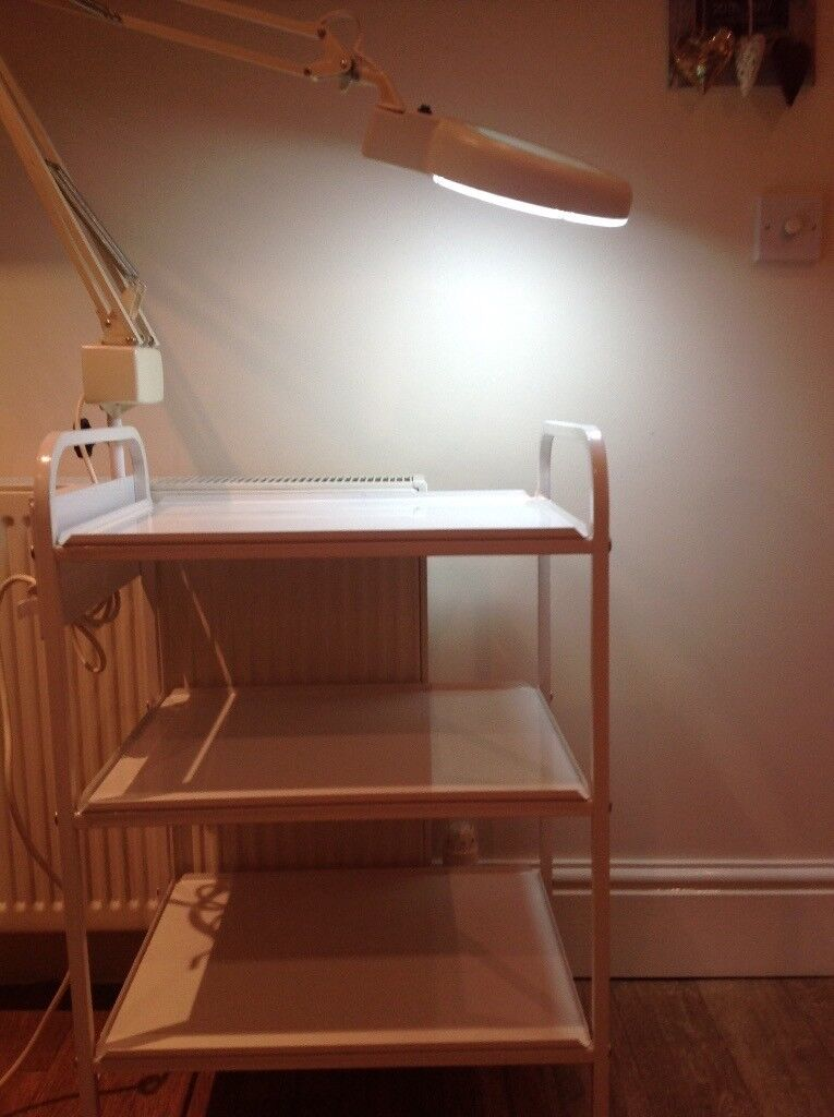Beauty Therapist Trolley with sockets and Mag Lamp. Collection Beverley.