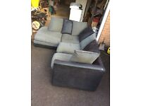 Corner sofa - part fabric/leather (can deliver)