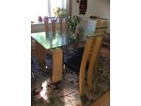 Dining table with 6 chairs 90cmx150 cm plus sideboard 54cmx137cm and mirror 108cmx78cm