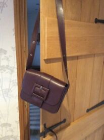 M&S maroon small satchel handbag