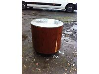 Unusual drum table with glass top