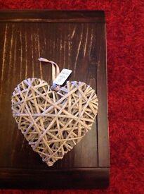 Natural wicker hanging heart