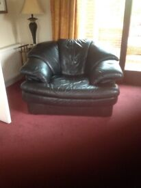 Italian leather three seater sofa ,with two matching armchairs in excellent condition