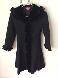 Kate Mack girls black designer wool coat age 6 years