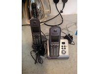 Panasonic Grey House cordless phone two set with answerphone
