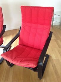 IKEA Poang chairs red with black frame