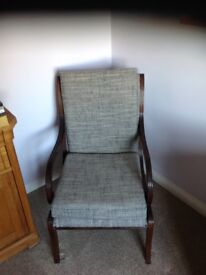 Charming casual armchair, refurbished in Grey and Black