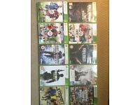 Black Xbox 360 with 10 games and 1 controller all in very good condition