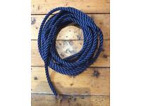 16mm 3 Strand Polyester Rope- NAVY - 10 metres Long - NEW
