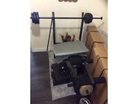 Gym weights bench with large bar and short bar and dumbells