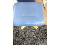 Leather footstool blue colour excellent condition