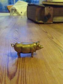 Antique/vintage brass pig vesta case