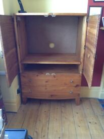 Solid Wood Cabinet with 2 Deep Drawers For use with TV or Computer like Brand New